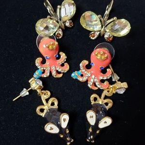 3 Pairs Earrings Octopus Mice Butterfly Whimsical